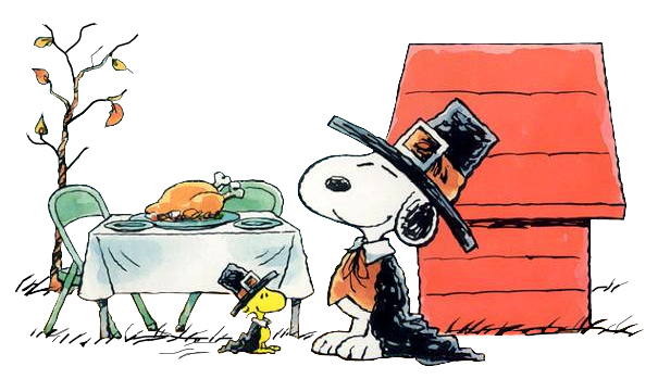 Snoopy and Woodstock dressed as Pilgrims